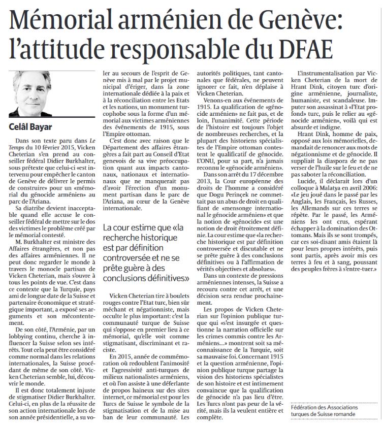 """Le Temps, rubrique """"Débat"""" - Mémorial arménien de Genève: l'attitude responsable de Didier Burkhalter - 3 mars 2015, édition papier"""