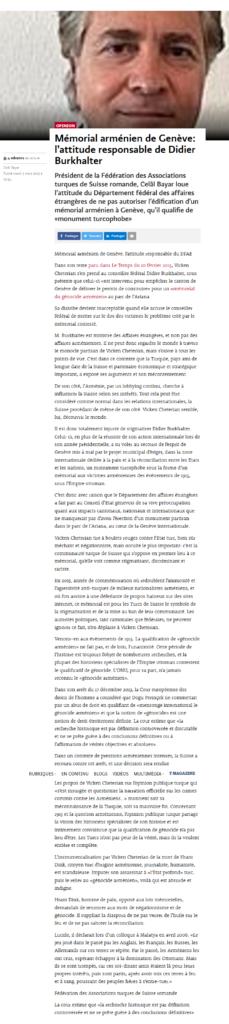 """Le Temps, rubrique """"Débat"""" - Mémorial arménien de Genève: l'attitude responsable de Didier Burkhalter - 3 mars 2015, édition digitale"""