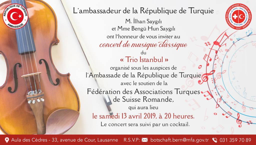 """Diaporama initial - Concert de musique classique """"Trio Istanbul"""" - Aula du Cèdres, Lausanne - samedi 13 avril 2019"""