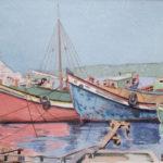 Akil Konca - Barques à Üsküdar (aquarelle)