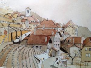 Akil Konca - Monteron-Lausanne (aquarelle)