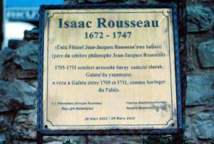 Dévoilement d'une plaque en l'honneur d'Isaac Rousseau à Péra, Istanbul le 28 mars 2012, en présence de M. Rémy Hildebrand, Président du CEJJR, et de Monsieur Kadir Topbaş, ancien maire de Beyoğlu/Istanbul.