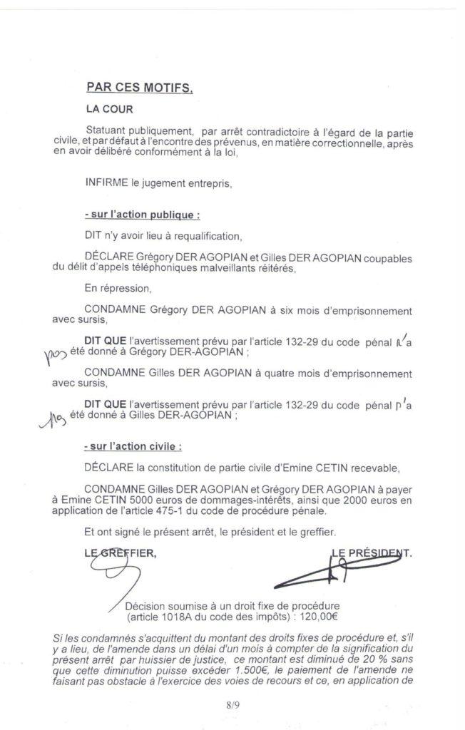 Condamnation des frères Der-Agopian - Cour d'appel de Versailles, 30 avril 2014