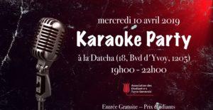 Karaoké Party de l'AETG à la Datcha/Genève, de 19h à 22h , le 10 avril 2019