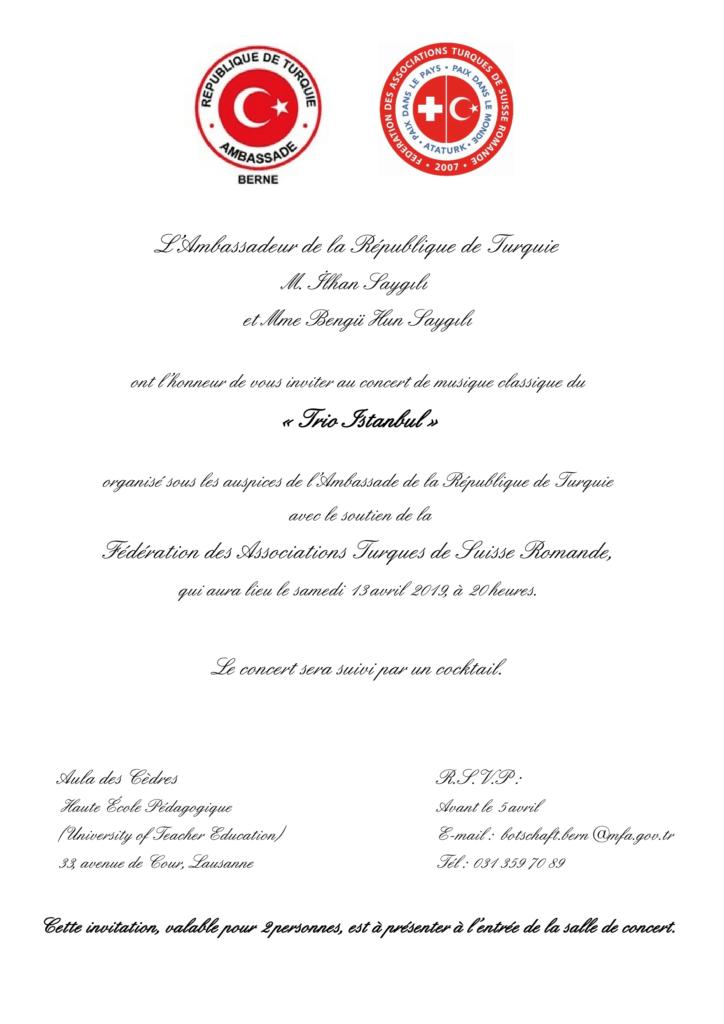 """Invitation pour deux personnes - """"Trio Istanbul""""  - 13 avril 2019 à 20h30, àl'Aula des Cèdres, Lausanne"""