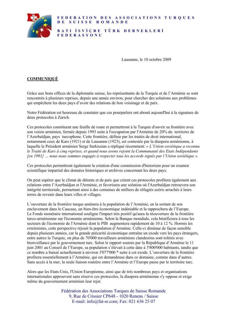 Communiqué de presse – 10.10.2009 – La signature des Protocoles de Zurich (page 1)