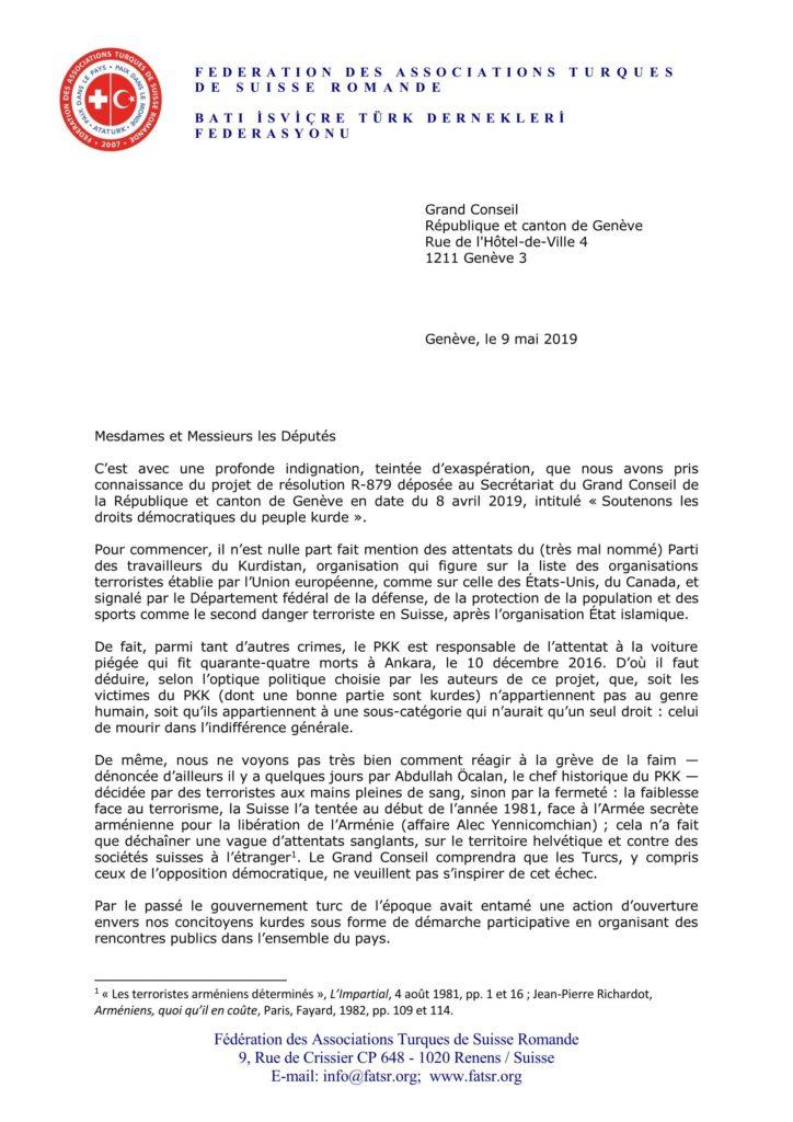 Lettre aux députés du Grand Conseil genevois - 9 mai 2019 - page 1/3