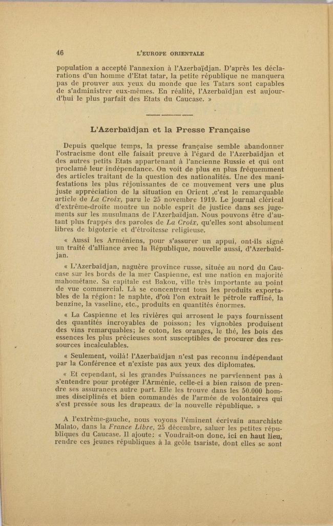 L'Europe orientale : pour la défense des nouvelles républiques d'Orient - No. 9-10 - 1-16 janvier 1920, Paris (p. 46)