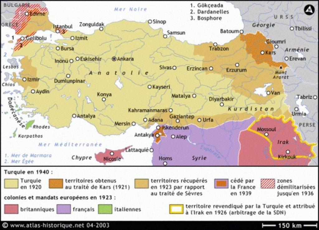 Carte de la Turquie en 1940 (avec le Sandjak d'Alexandrette - Hatay en turc - rattaché à la jeune république le 23 juin 1939)