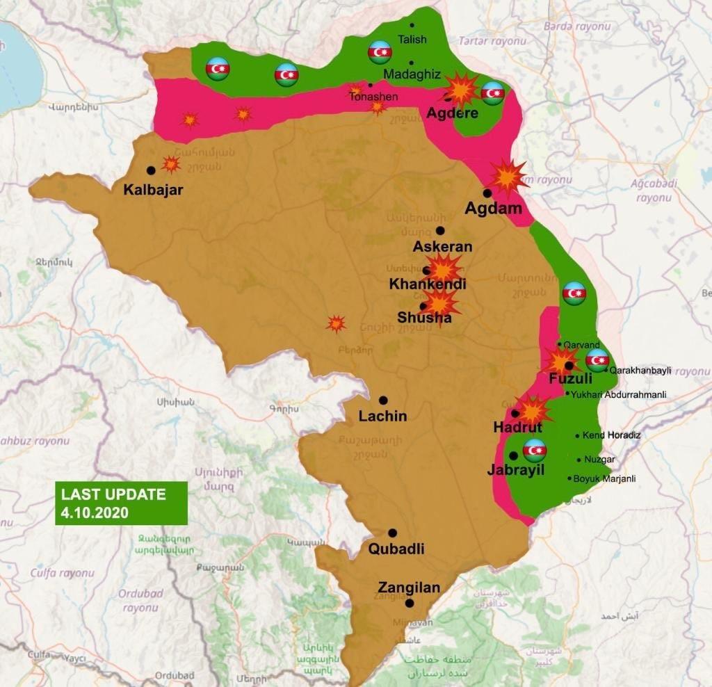 Situation militaire au Karabagh en date du 4.10.2020. Source : compte Twitter de @LukeDCoffey